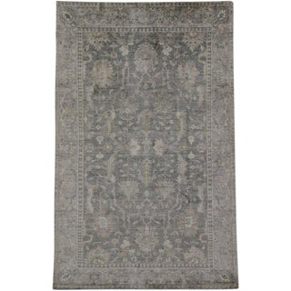 New Transitional Gray Silk Area Rug With Neoclassic Style - 5'9 X 9'00 For Sale