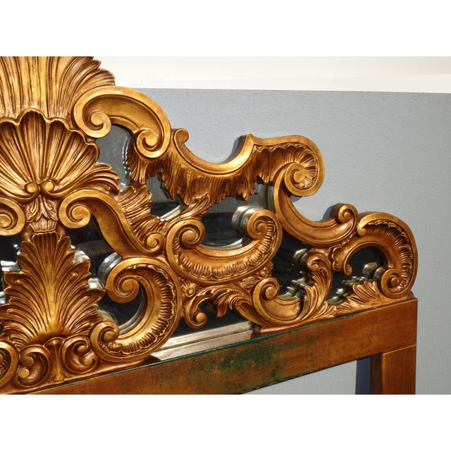 Gold Vintage French Provincial Louis XVI Rococo Gold King Headboard Mirror & Scrolls For Sale - Image 8 of 13
