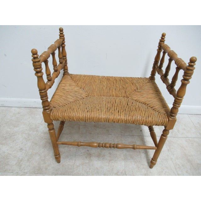 Textile 1990s Vintage Faux Bamboo French Regency U Bench Ottoman Vanity Seat Stool Rush Seat For Sale - Image 7 of 11