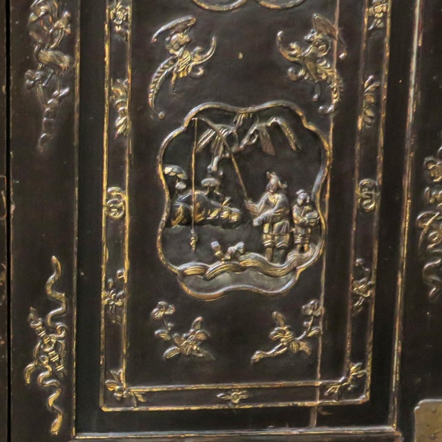Antique Chinese Black Wedding Wardrobe Cabinet With Gold Carvings For Sale - Image 11 of 12