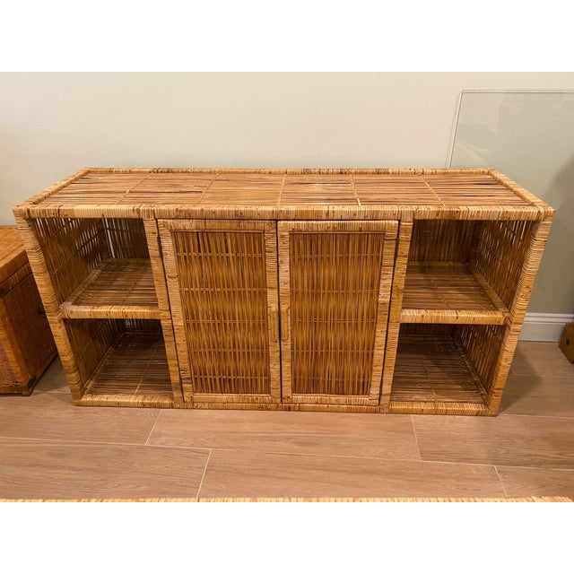 Vintage Palm Beach Boho Chic Wicker Rattan Shelving Unit For Sale - Image 12 of 12