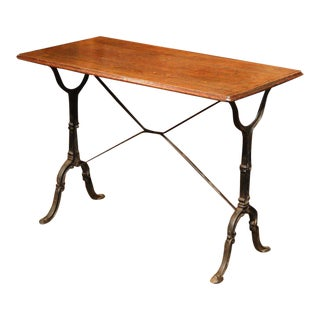 Late 19th Century French Iron & Wood Bistro Table For Sale
