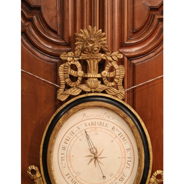 French Mid-18th Century French Louis XVI Carved Giltwood Wall Barometer Selon Toricelli For Sale - Image 3 of 8