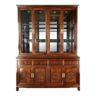 Asian Chinoiserie China Cabinet For Sale