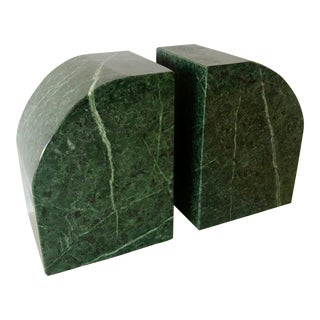 Pair Green Marble Bookends For Sale