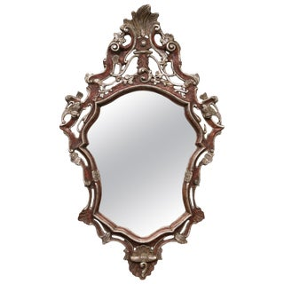 Italian Baroque Style Parcel Silver Gilt Wall Mirror For Sale