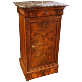 Walnut & Marble French Chevet Table Cabinet For Sale