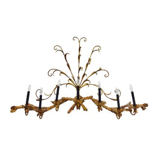 7 Arm Gilt Leaf Candelabra For Sale