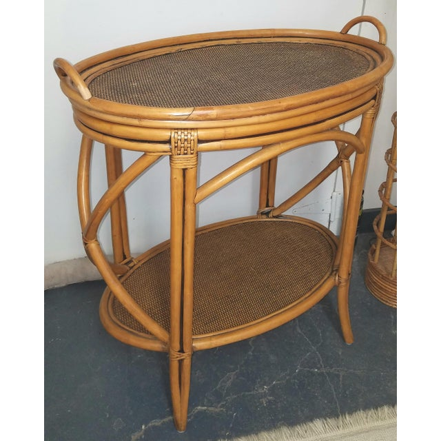 1980s Boho Chic Bamboo or Rattan Tray Top Oval.Table For Sale In Philadelphia - Image 6 of 6