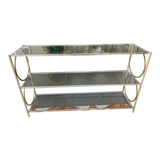 Contemporary Glass & Metal Console Table For Sale