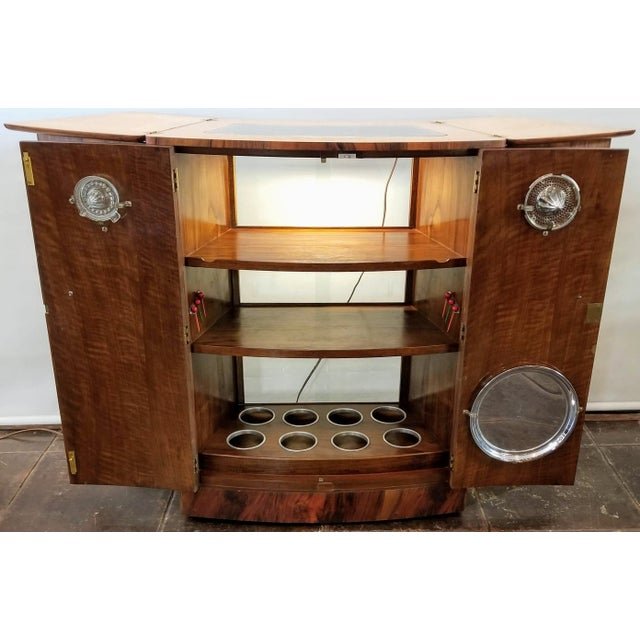 Streamline Modern /Art Deco Birdseye Maple Light-Up Fold-Out Cocktail Bar by Turnidge of London For Sale In San Diego - Image 6 of 13