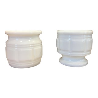 Mid Century White Milk Glass Planters - a Pair For Sale