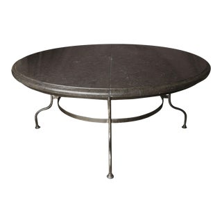 Belgian Bluestone Top Table with Iron Base For Sale