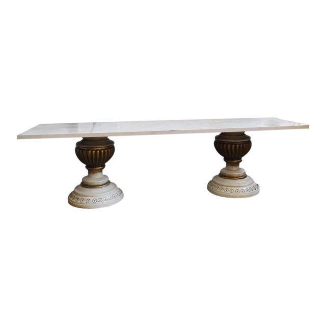Mid-Century Vintage Stone Bench Table For Sale