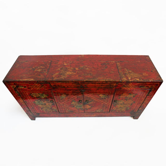 Mongolian Painted Red Sideboard - Image 2 of 4
