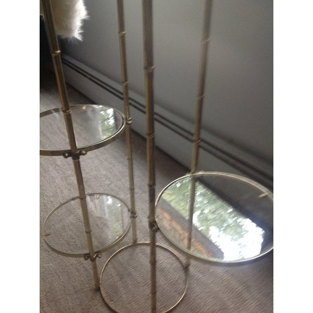 Metal Mid Century Faux Brass Bamboo Shelf Plant Stand For Sale - Image 7 of 9