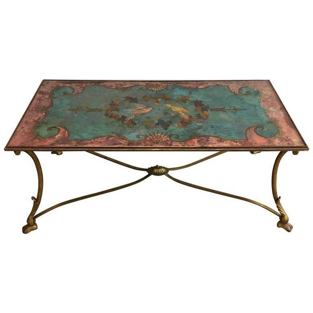 Neoclassical Coffee Table With Gilt Base and Reverse Painted Mirror Top - Image 11 of 11