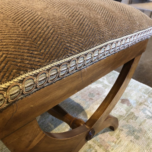 Italian Upholstered Walnut Bench For Sale - Image 10 of 11
