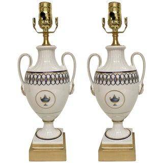Gio Ponti for Richard Ginori Pittorai Neoclassic Lamps - a Pair