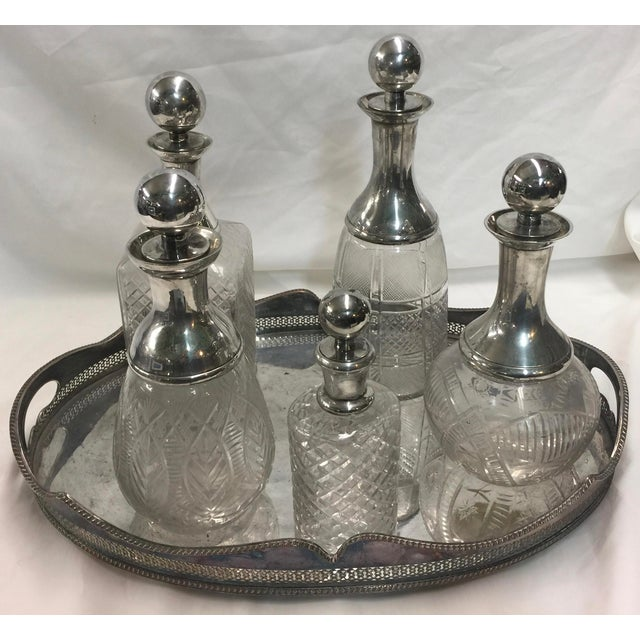 5 Cut Crystal Silverplate Bottles and Tray For Sale - Image 9 of 9