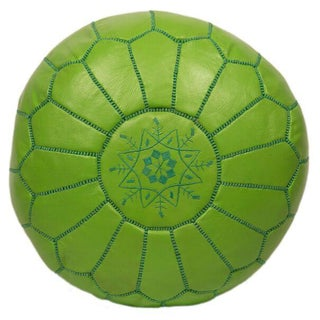 Embroidered Leather Pouf in Lime Green (Stuffed)