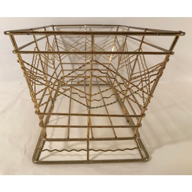 Mid Century Expanded Gold Metal Basket For Sale - Image 4 of 8