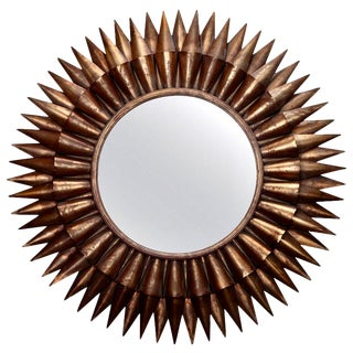 Large Spanish Gilt Sunburst Mirror For Sale