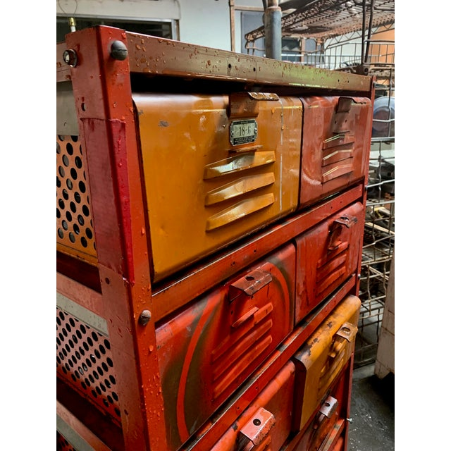 Vintage Industrial Orange 10-Basket Metal Locker Storage For Sale - Image 4 of 13