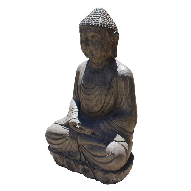 Asian Chinese Stone Sitting Buddha Amitabha Shakyamuni Statue For Sale - Image 3 of 6