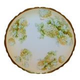 Image of Royal Austria Hand-Painted Green Floral Plate with Gold Rim For Sale