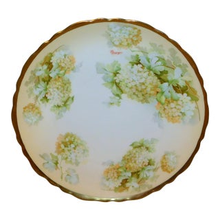 Royal Austria Hand-Painted Green Floral Plate with Gold Rim For Sale