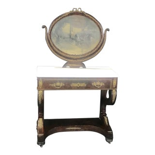 Ornate Lavish Charles X Mahogany Empire Dressing Table For Sale