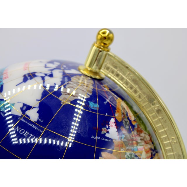 Blue Vintage Blue Lapis World Globe on Brass Stand With Semiprecious Gems For Sale - Image 8 of 13
