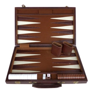 Vintage Backgammon Set & Board in Leatherette Case