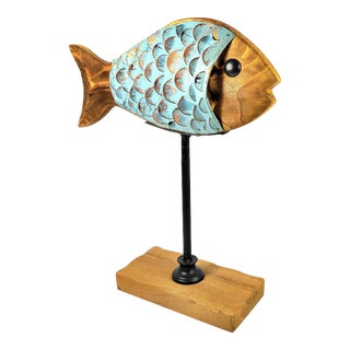 Rustic Wood and Metal Fish on Pedestal Sculpture For Sale