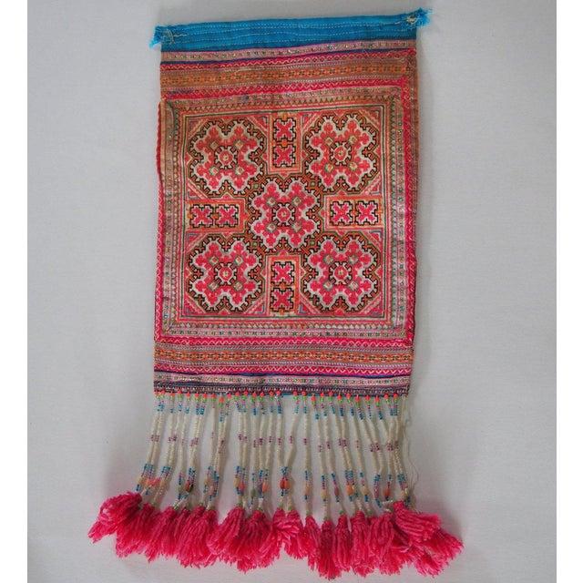 Vintage Needlepoint Pink Beaded Pom Pom Thai Textile - Image 4 of 7
