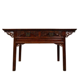 Antique Chinese Carved Zhejiang Writing Desk/Console Table For Sale