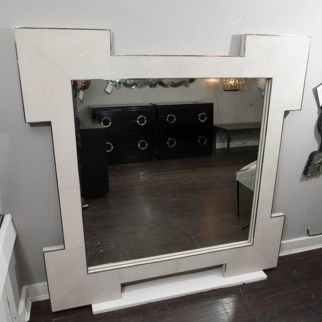 2010s Custom Square Shagreen Mirror with Square Edges For Sale - Image 5 of 5