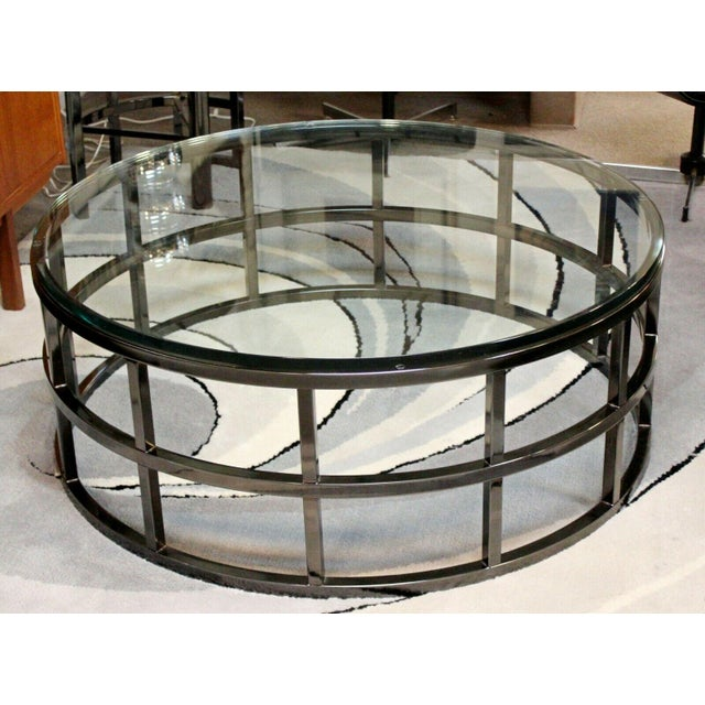 Contemporary Modernist Large Round Gunmetal Glass Coffee Table Brueton 1980s For Sale - Image 10 of 10