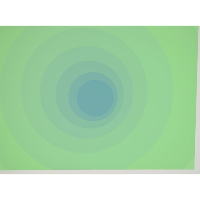 "Abstract 1973 Vintage Neil Korpi ""vi - 11"" Green Spheres Op Art L/E Lithograph For Sale - Image 3 of 7"