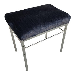 Restored Faux Bamboo Chrome Bench, Reupholstered in Faux Fur, Mid-Century For Sale