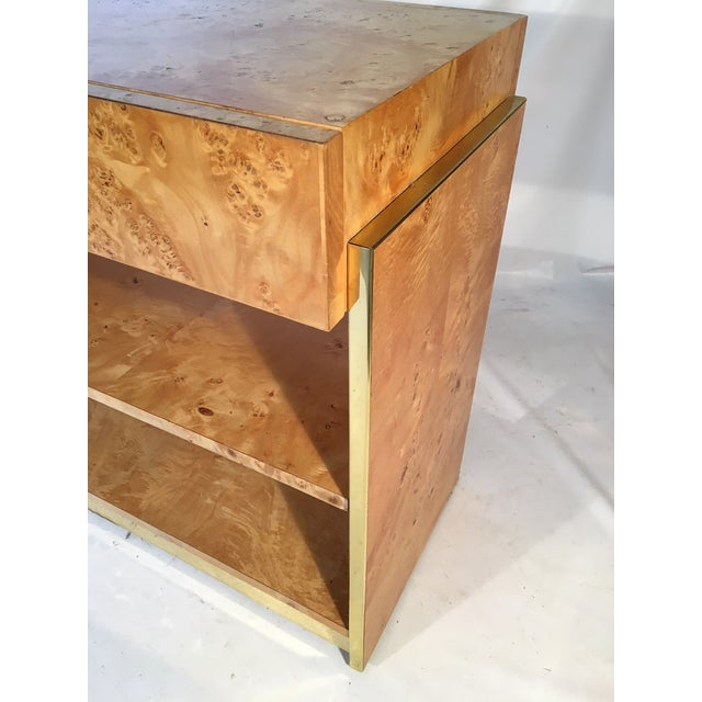 Burl Wood and Brass Rolling Server For Sale - Image 9 of 10