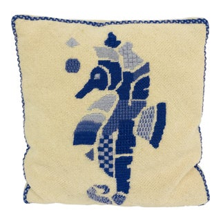 Vintage Seahorse Needlepoint Pillow For Sale