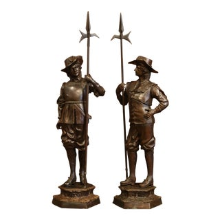 Pair of 19th Century French Patinated Musketeers Sculptures Signed E. Picault