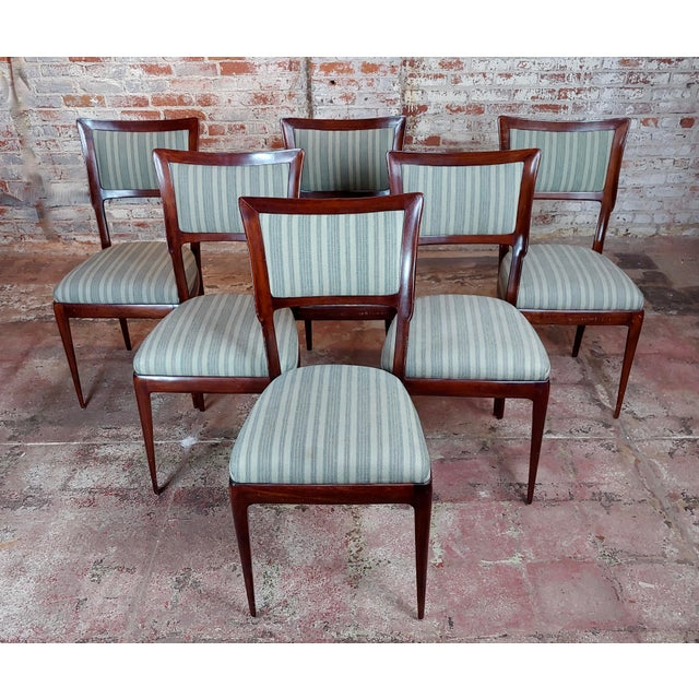 Vintage Italian Art Deco Mahogany Dining Chairs - Set of 6 For Sale - Image 10 of 10