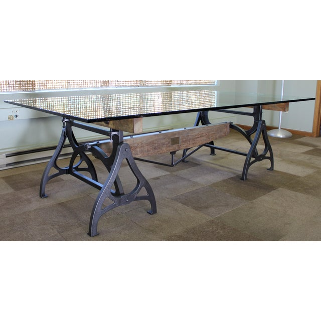 Industrial Industrial Cast Iron & Wood Brake Conference Table For Sale - Image 3 of 11
