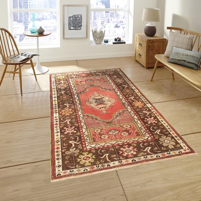 """Vintage Brown & Red Oushak Area Rug - 3'6"""" X 5'5"""" - Image 3 of 3"""