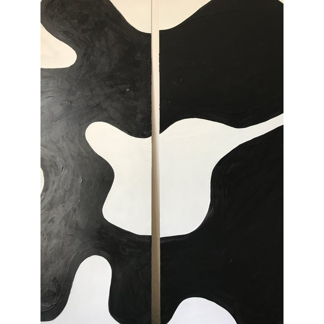 Hannah Polskin original 2018 black and white abstract acrylic painting on plywood. Wavy motif with monochrome color...