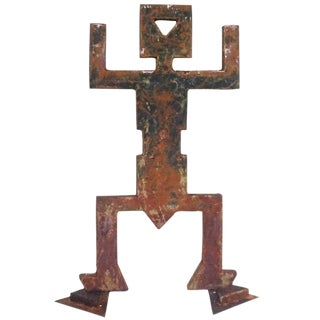 "Brutalist ""Memphis Burning Man"" Garden Sculpture in Oxidized Iron"