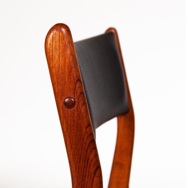 Leatherette Johannes Andersen Uldum Møbelfabrik Danish Teak Dining Chairs — Set of Four For Sale - Image 7 of 12